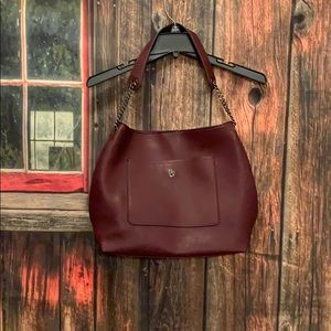 Maroon Magnet Snap Shouldered Hobo Purse